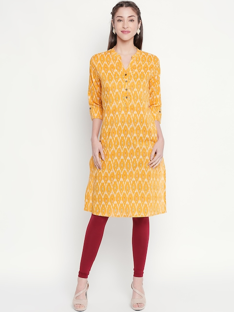RANGMANCH BY PANTALOONS Women Mustard Yellow & Beige Printed Straight...