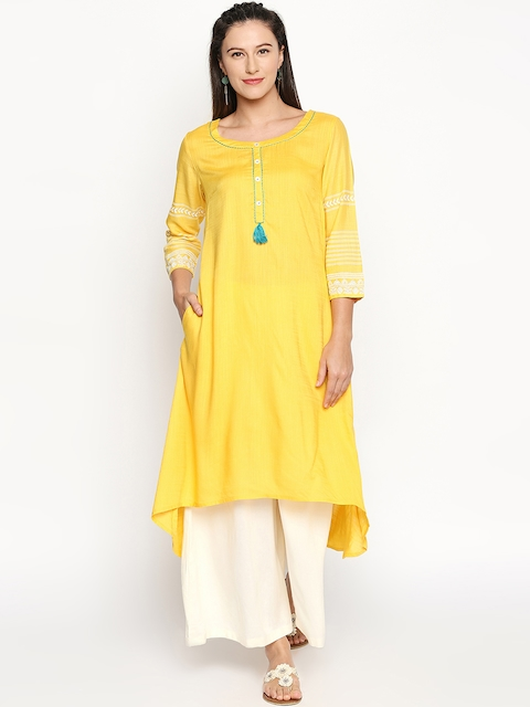 RANGMANCH BY PANTALOONS Women Yellow Yoke Design A-Line Kurta