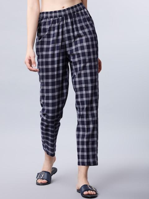 Vishudh Women Navy Blue Slim Fit Checked Regular Trousers