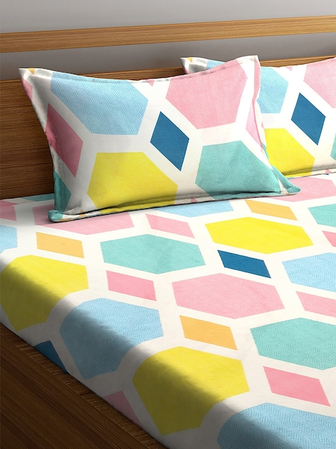 KLOTTHE Multicoloured Geometric 210 TC Cotton 1 King Bedsheet with 2 Pillow Covers 3