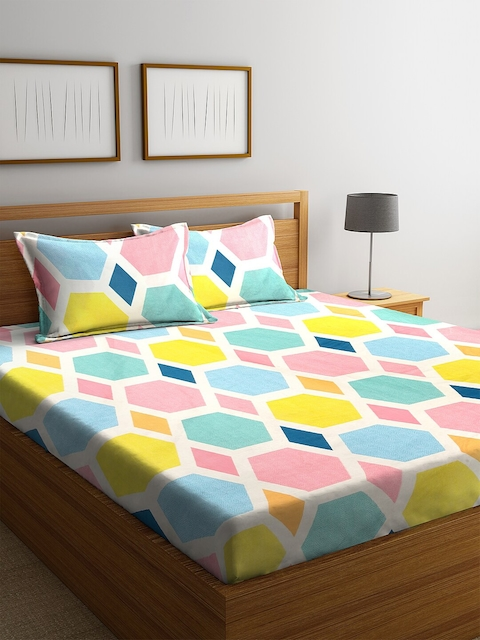 KLOTTHE Multicoloured Geometric 210 TC Cotton 1 King Bedsheet with 2 Pillow Covers 1