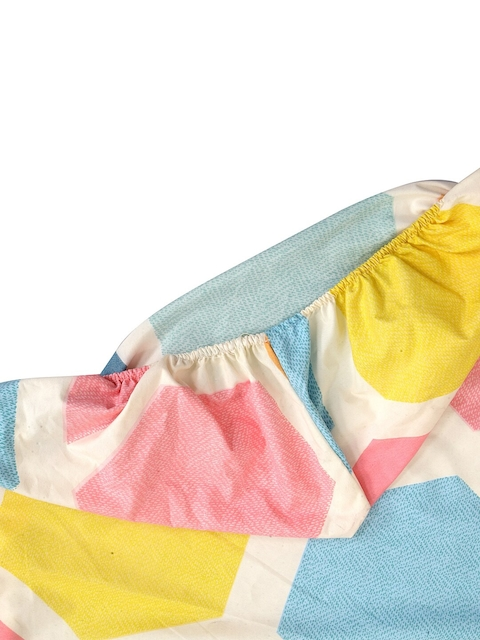 KLOTTHE Multicoloured Geometric 210 TC Cotton 1 King Bedsheet with 2 Pillow Covers 5