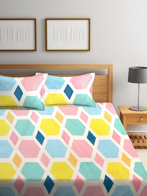 KLOTTHE Multicoloured Geometric 210 TC Cotton 1 King Bedsheet with 2 Pillow Covers 2