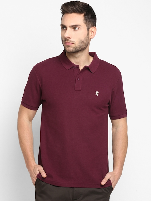 Red Tape Men Burgundy Solid Polo Collar T-shirt