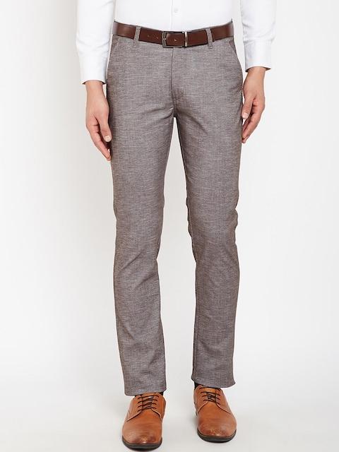 Hancock Men Brown & Grey Slim Fit Self Design Formal Trousers