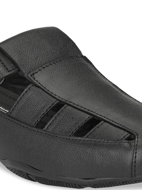 John Karsun Men Black Leather Sandals 5