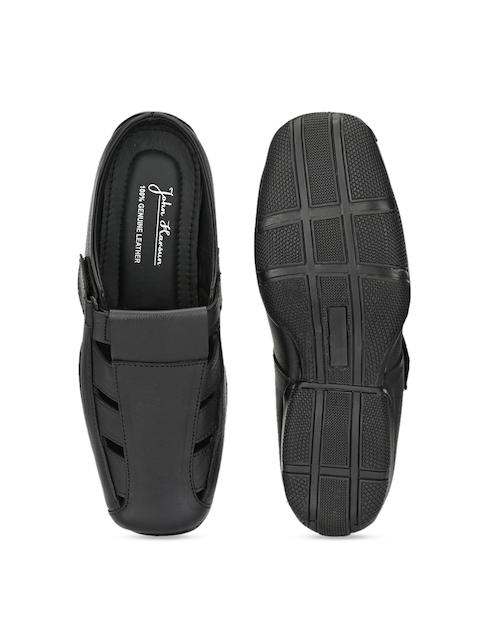 John Karsun Men Black Leather Sandals 4
