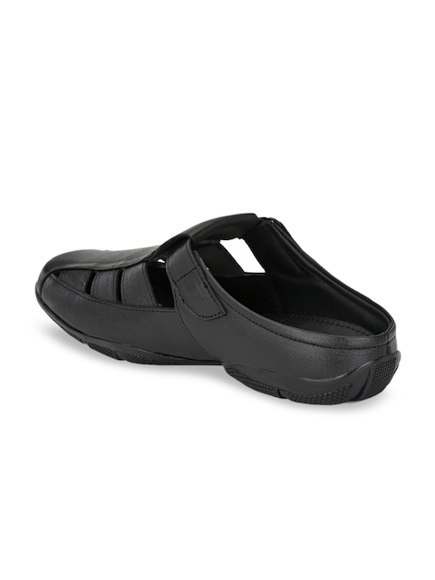John Karsun Men Black Leather Sandals 2