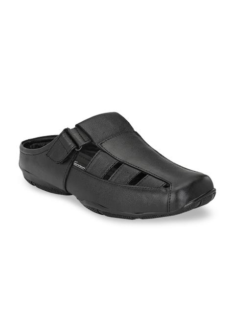 John Karsun Men Black Leather Sandals 1