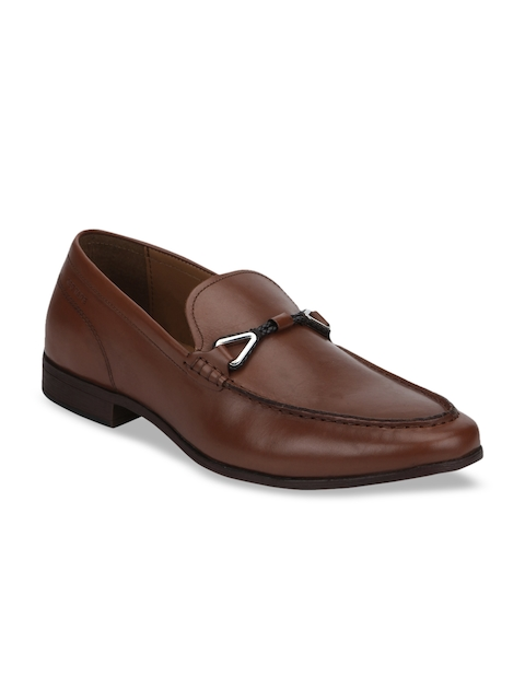 Red Tape Men Brown Solid Leather Formal Loafers