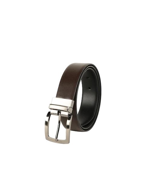 ZEVORA Men Brown & Black Textured Belt 5