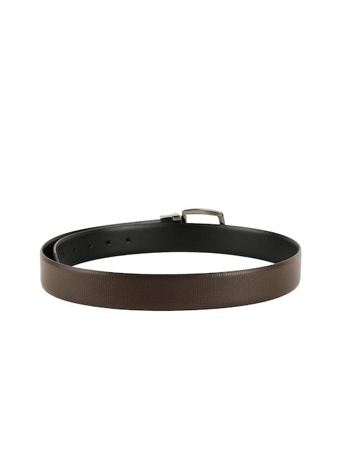 ZEVORA Men Brown & Black Textured Belt 3