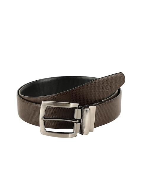 ZEVORA Men Brown & Black Textured Belt 4