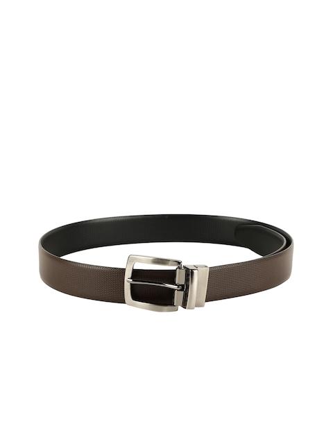 ZEVORA Men Brown & Black Textured Belt 2