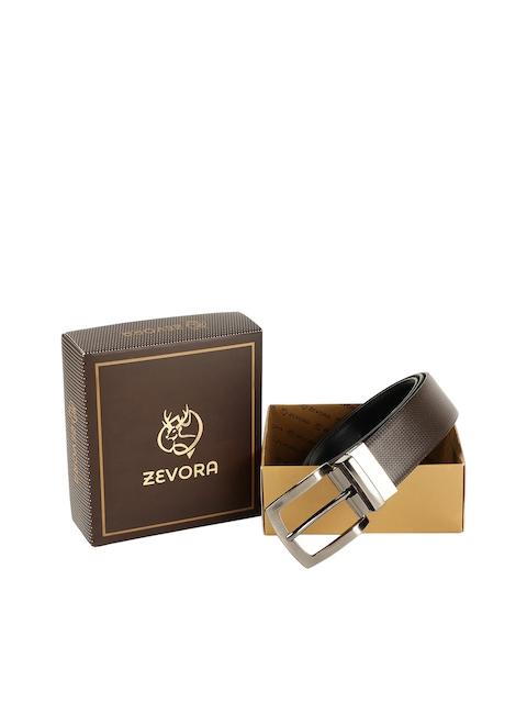 ZEVORA Men Brown & Black Textured Belt 1