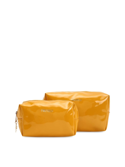 FOREVER 21 Set of 2 Mustard Yellow Solid Cosmetic Pouch