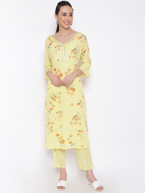 MARC LOUIS Women Yellow Floral Printed Pure Cotton Kurta with Palazzos 1