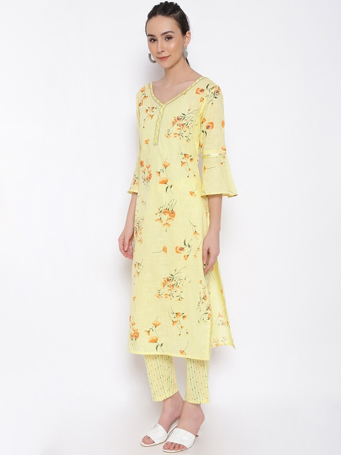 MARC LOUIS Women Yellow Floral Printed Pure Cotton Kurta with Palazzos 5
