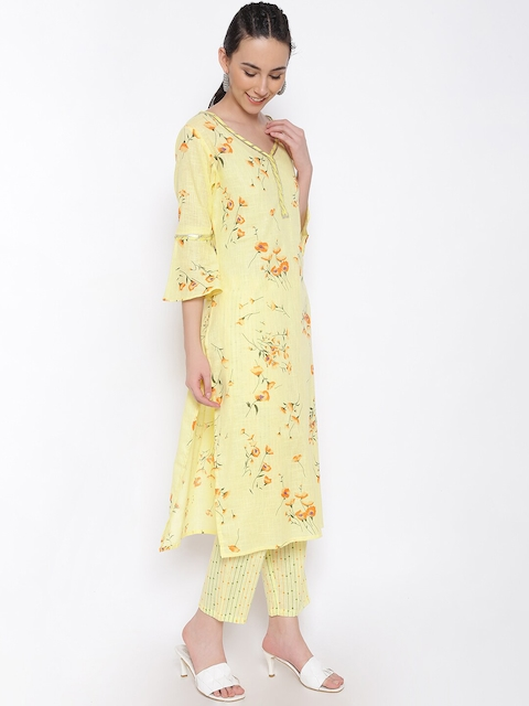 MARC LOUIS Women Yellow Floral Printed Pure Cotton Kurta with Palazzos 4
