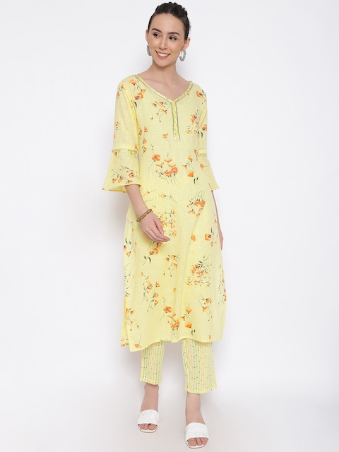 MARC LOUIS Women Yellow Floral Printed Pure Cotton Kurta with Palazzos 7