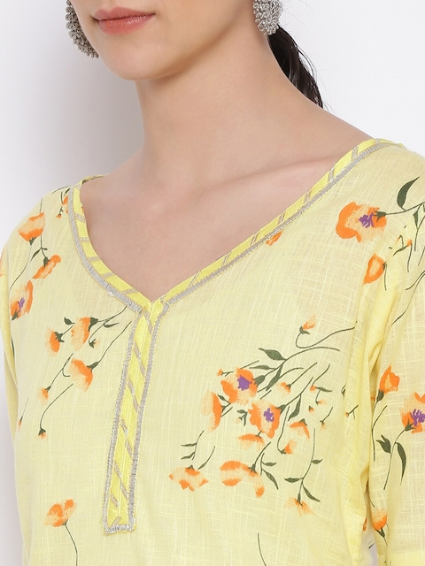 MARC LOUIS Women Yellow Floral Printed Pure Cotton Kurta with Palazzos 2