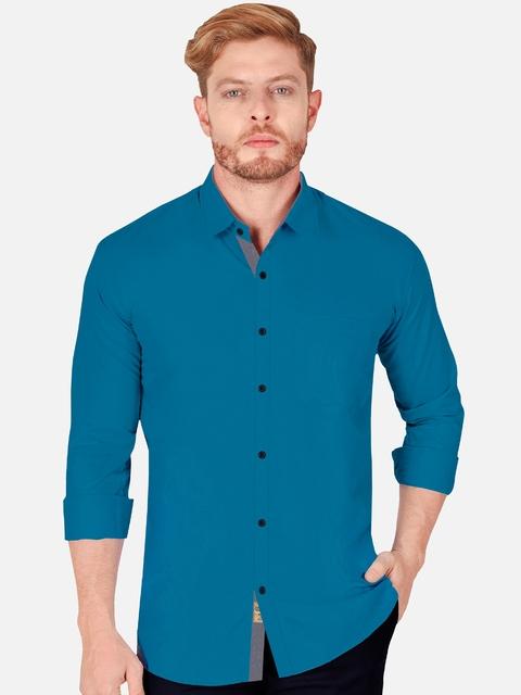 VeBNoR Men Teal Slim Fit Casual Shirt 1