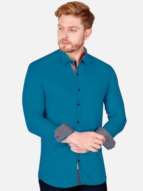 VeBNoR Men Teal Slim Fit Casual Shirt 3
