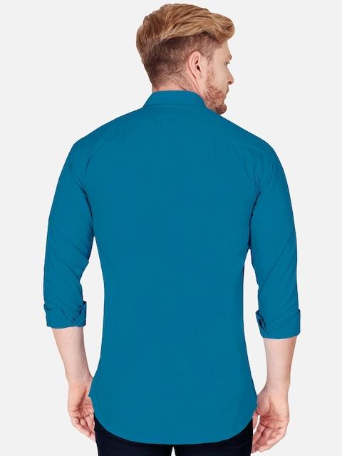 VeBNoR Men Teal Slim Fit Casual Shirt 4