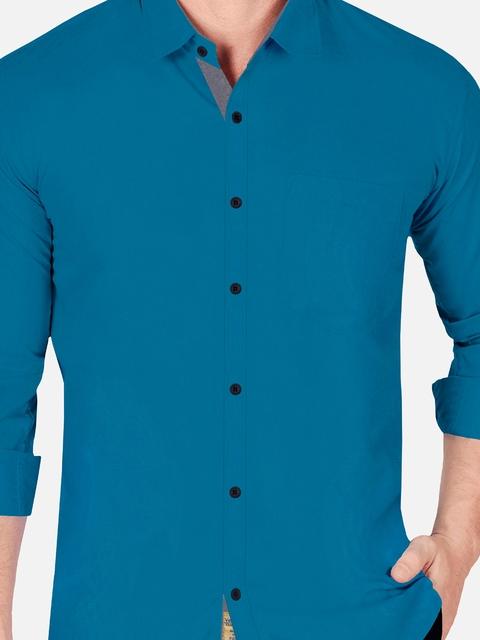 VeBNoR Men Teal Slim Fit Casual Shirt 2