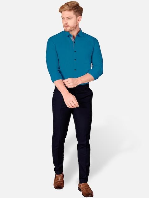 VeBNoR Men Teal Slim Fit Casual Shirt 5