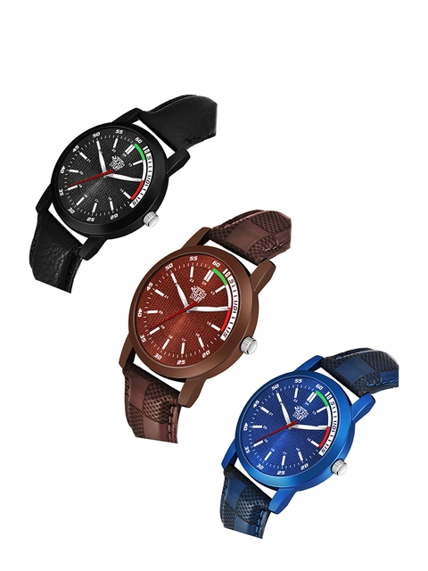 SWADESI STUFF Adults Pack Of 3 Leather Straps Analogue Watch SDS 116 ALL 3 2
