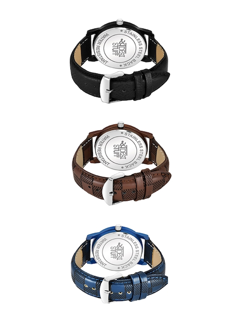 SWADESI STUFF Adults Pack Of 3 Leather Straps Analogue Watch SDS 116 ALL 3 3