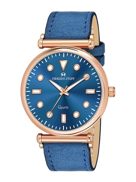 SWADESI STUFF Unisex Blue Embellished Dial & Leather Straps Analogue Watch - FOX 551 BLUE 2
