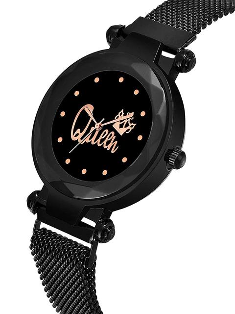 SWADESI STUFF Women Black Dial & Black Bracelet Style Straps Analogue Watch 2
