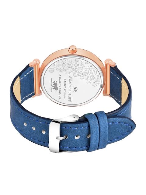 SWADESI STUFF Unisex Blue Embellished Dial & Leather Straps Analogue Watch - FOX 551 BLUE 4