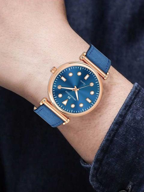 SWADESI STUFF Unisex Blue Embellished Dial & Leather Straps Analogue Watch - FOX 551 BLUE 5