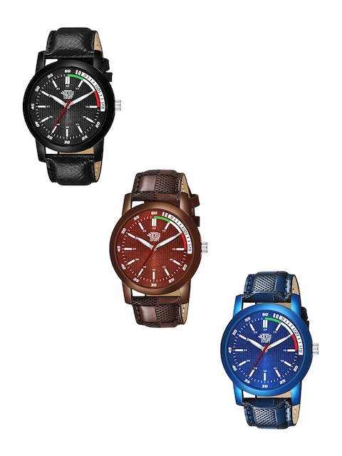 SWADESI STUFF Adults Pack Of 3 Leather Straps Analogue Watch SDS 116 ALL 3 1