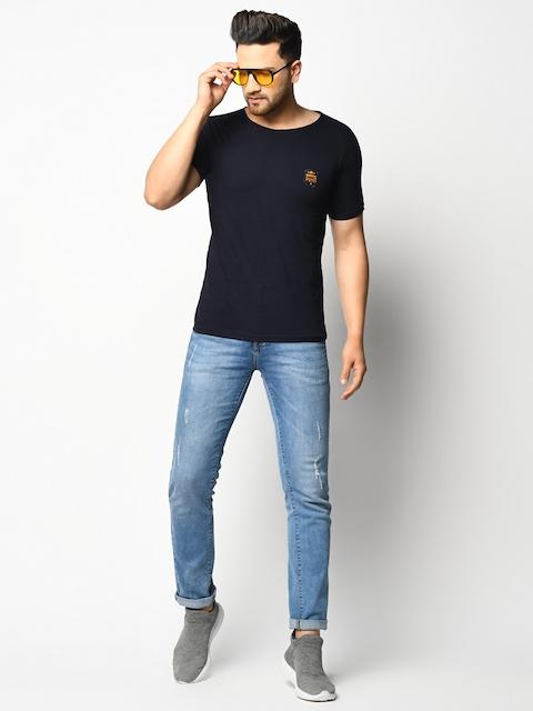 ELEGANCE Men Pack Of 2 Maroon & Navy Blue T-shirts 6