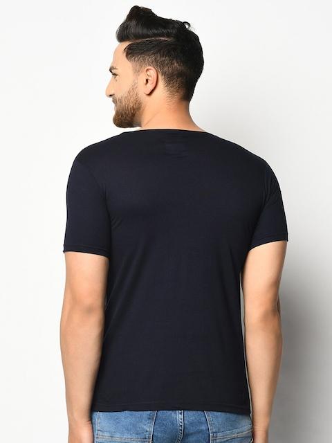 ELEGANCE Men Pack Of 2 Maroon & Navy Blue T-shirts 5