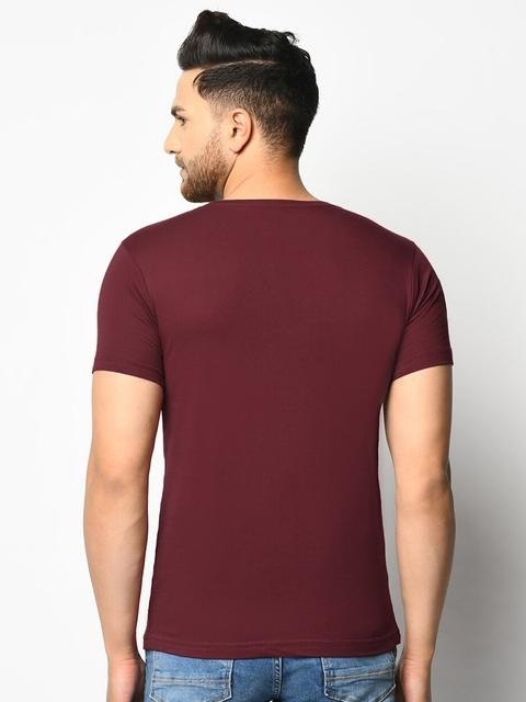 ELEGANCE Men Pack Of 2 Maroon & Navy Blue T-shirts 4