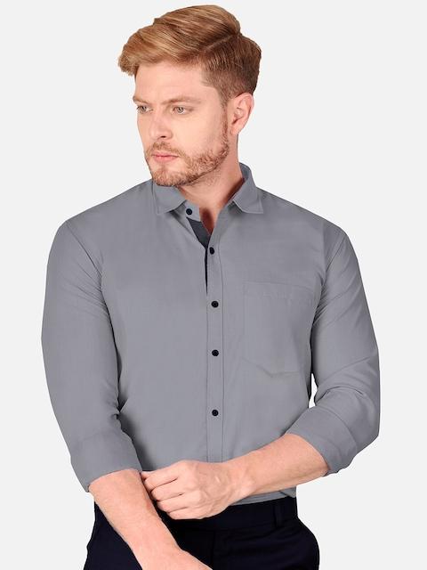 VeBNoR Men Grey Slim Fit Casual Shirt 6