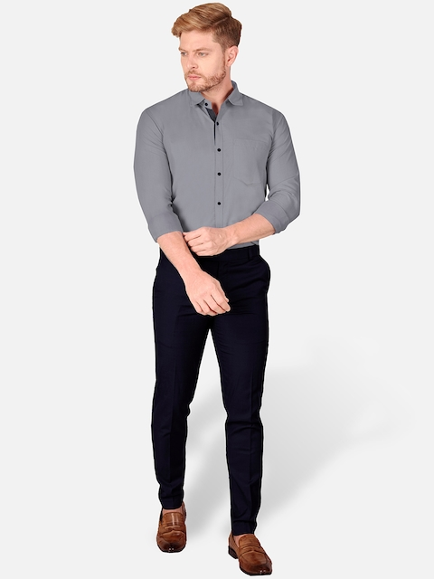 VeBNoR Men Grey Slim Fit Casual Shirt 5