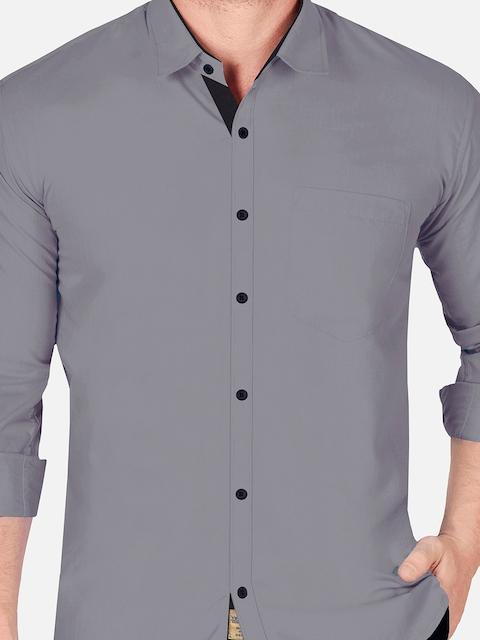 VeBNoR Men Grey Slim Fit Casual Shirt 2