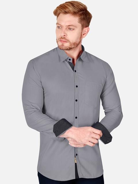 VeBNoR Men Grey Slim Fit Casual Shirt 3