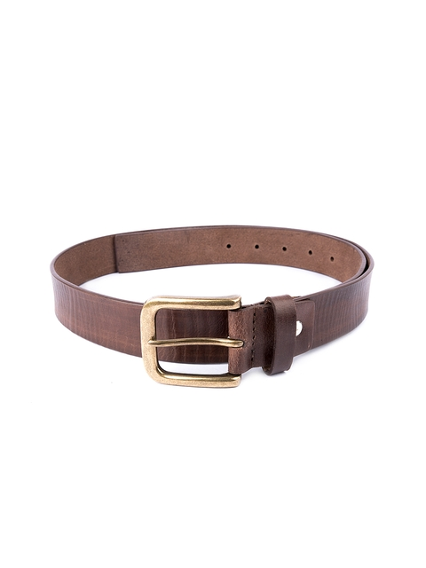 Pacific Gold Men Brown Leather Belt
