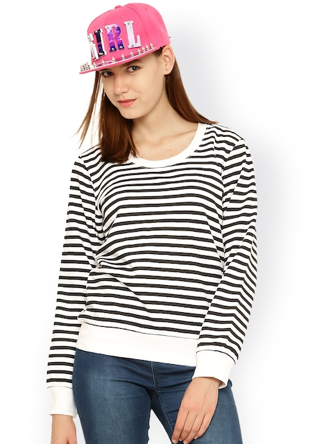 Vvoguish White & Black Striped Sweatshirt