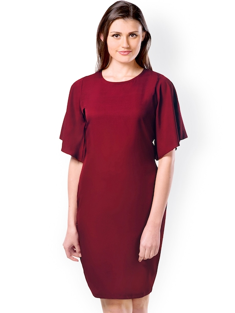 Miss Chase Maroon Shift Dress