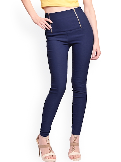 Miss Chase Navy Retro High Waist Slim Fit Jeggings
