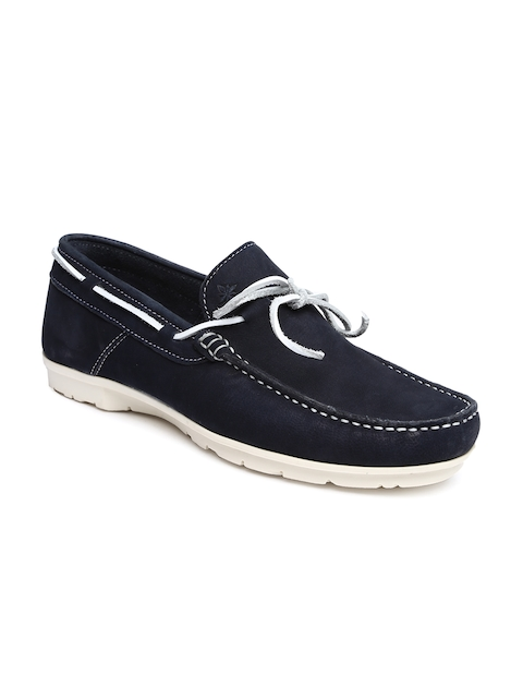 Ruosh Casual Men Blue Leather Driving Shoes