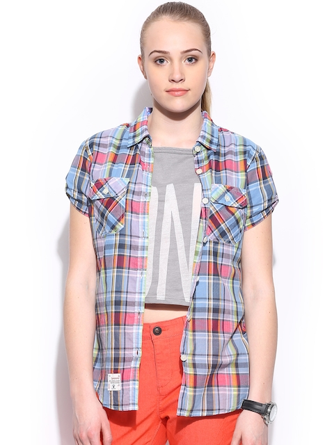 Superdry Women Blue & Lavender Coloured Checked Slim Fit Shirt